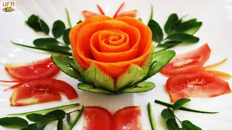 Impressive Garnish Of Wax Gourd Carrot Rose Loving By Tomato Butterflies Carving Designs