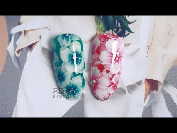 【Watch Nail Teach Me-712nd phase】Poetic Two-layed Freehand Flowers【窝趣美甲你求窝教 第712期】手绘双层意境花