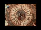 Декупаж часов объемным декором, имитируя металлическую поверхность. Мастер класс