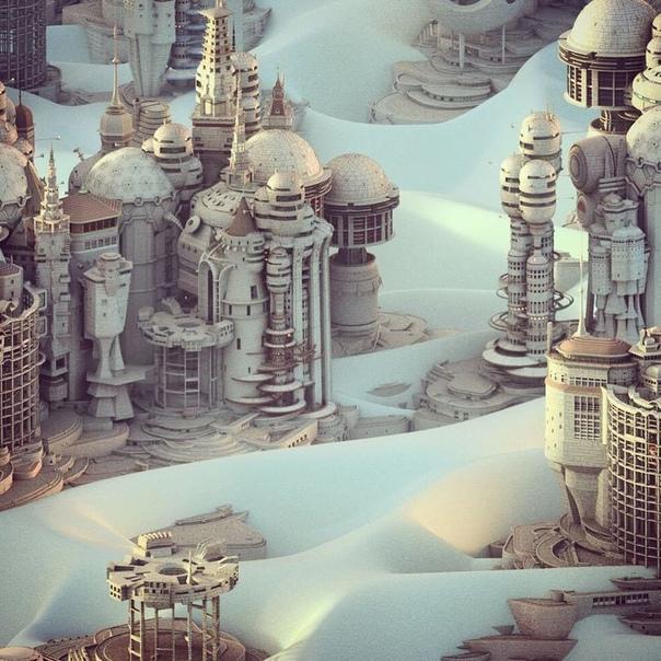 Канадский художник Мэтью Борретт творит воображаемые городские пейзажи, вдохновленные любовью к архитектуре и миром фантазий Художник говорит, что не разместил на своих картинках людей