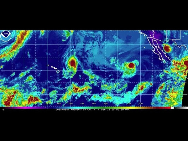 NOAA Central Pacific color enhanced IR time-lapse September 6-13, 2018