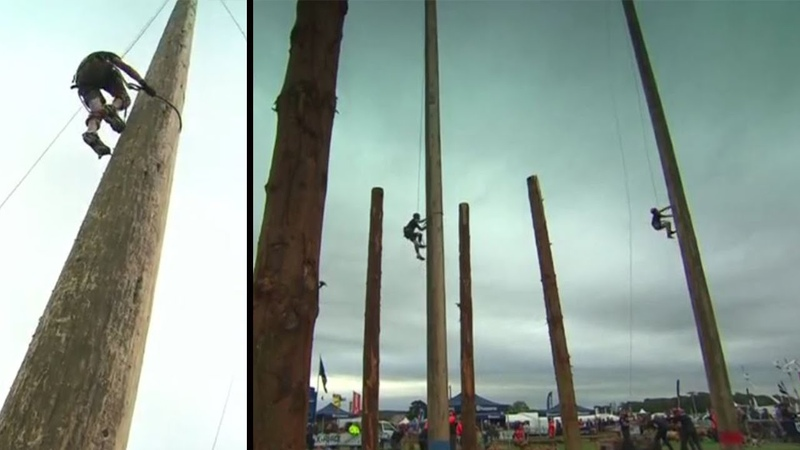 83-year-old delights in pole climbing contest