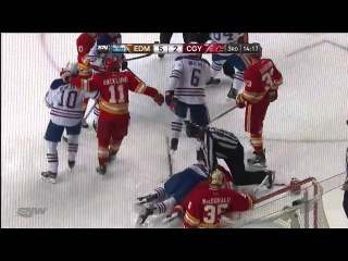 Fight - Ryan Jones Vs Chris Butler. Nail Yakupov In The Scrum Throwing Some Punches.