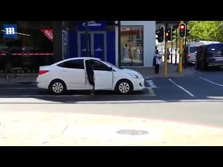 Driver baffled after prankster pretends to step over object