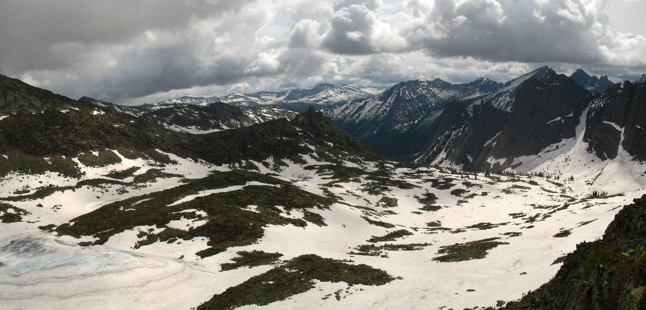 Панорама с траверса горы Перевальной на долину Тайгишонка