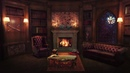 Library at Night Fireplace Sound Rain Cat Purr Study Relax