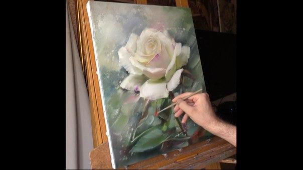 dessin et peinture - vidéo 1240 : une belle rose blanche à la ... - Peinture A L Eau Sur Peinture A L Huile