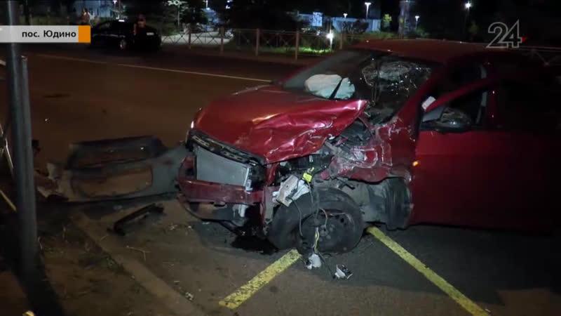 В поселке Юдино Chevrolet на высокой скорости врезался в Opel