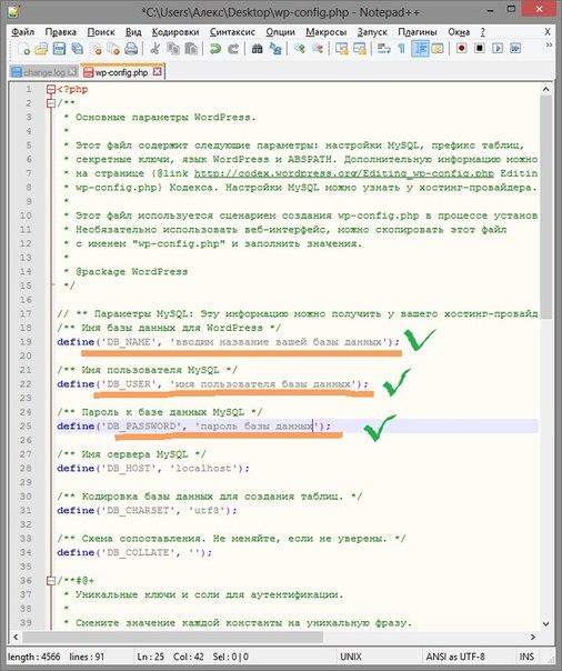 заполняем поля в Notepad++