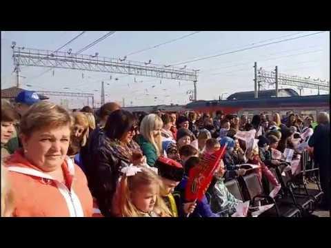 Поезд Победы на ЖД станции Лиски Жилой дом в городе Лиски Воронежская область