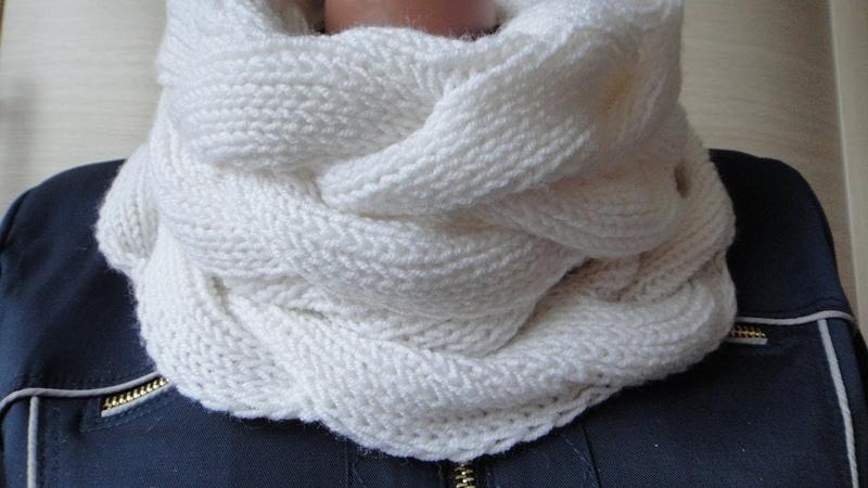 Снуд спицами в один оборот двухсторонним узором. Knitting pattern LIC