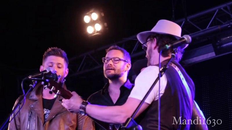 "Jensen Ackles, Jason Manns, Rob Benedict, and Dick Speight Jr. singing ""Seven Bridges Road"" JIB9"