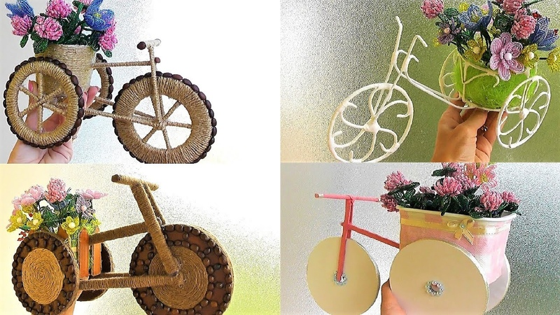 5 Декоративных Велосипедов из разных материалов / Кашпо своими руками