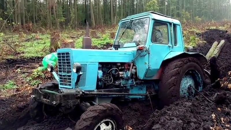 Трактора с колесами от комбайна. МТЗ 80, Т-40, МТЗ 1221 месят грязь.