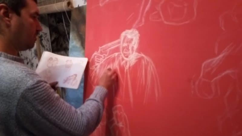 Художник Денис Симонов рисует эскиз к композиции Стена 16.10.2018