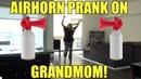 EPIC AIRHORN PRANK ON GRANDMOM SCARE PRANK