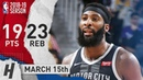 Andre Drummond Full Highlights Pistons vs Lakers 2019.03.15 - 19 Pts, 23 Reb!