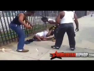 Guy Gets Beat Up And Down For Pulling A Gun