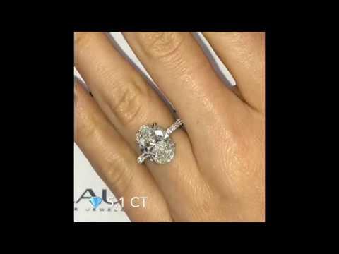 5 ct Oval Diamond Three-Row Engagement Ring