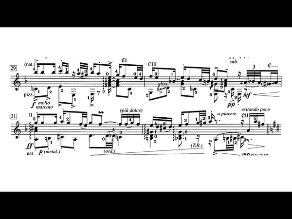Roland Dyens - El Choclo, Tango for Guitar (Score video)