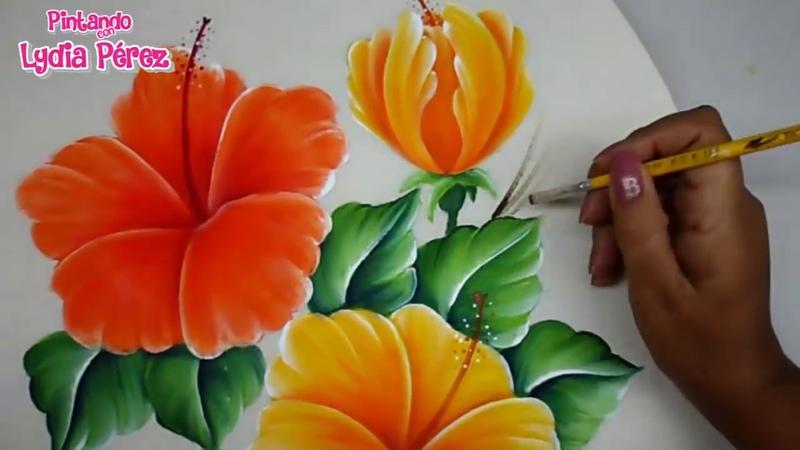 Pintura Textil Pintura En Tela Como Pintar Flores Fácil Hibiscos How To Pait Hibiscus Flower