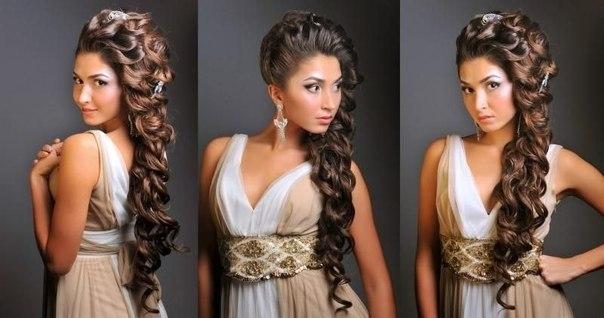Прическа на выпускной с длинными волосами в  250