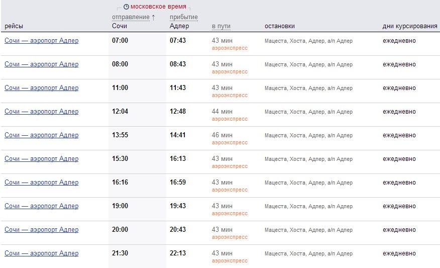 аэроэкспресс сочи расписание и стоимость билета