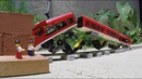 Lego trains crashes in to a brick trap