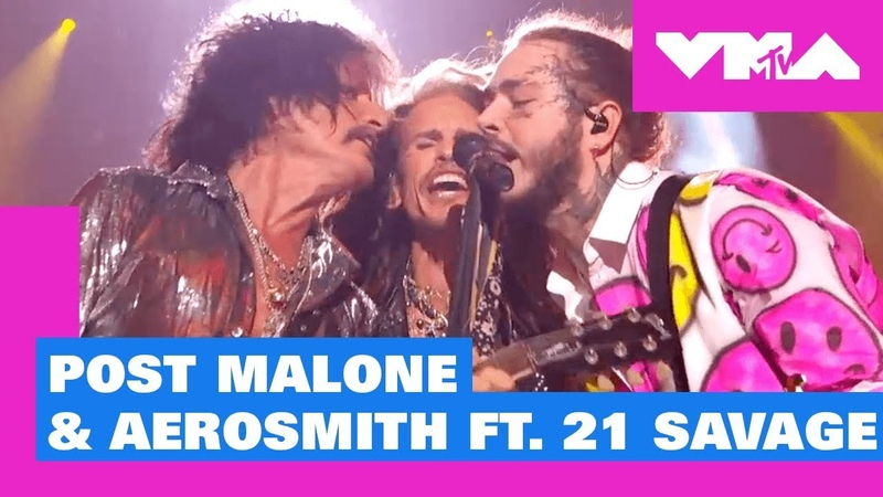Post Malone Aerosmith ft. 21 Savage Perform 'Rockstar' / 'Dream On' More!   2018 MTV VMAs