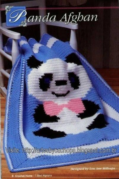 Delicadezas en crochet Gabriela: Oso Panda manta niños