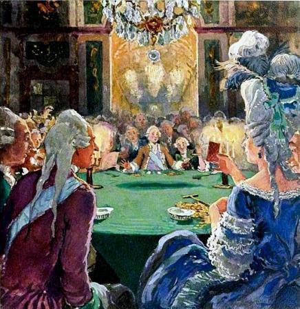 Екатерина II играла в карты с иностранными министрами или с тем, кому прикажет Так, на празднике Азора, в комнатах Эрмитажа, 13 февраля 1778 г., данного в честь рождения первого внука