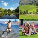Озеро, долина, парень с шариками, девушка с цветком на траве