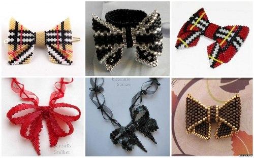 Варианты расцветки бантика.  Лента-бант на шею.  Большое разнообразие схем плетения бантов из бисера.