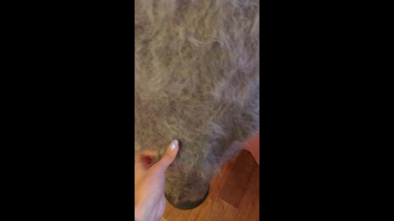 Пуховый платок серый 26