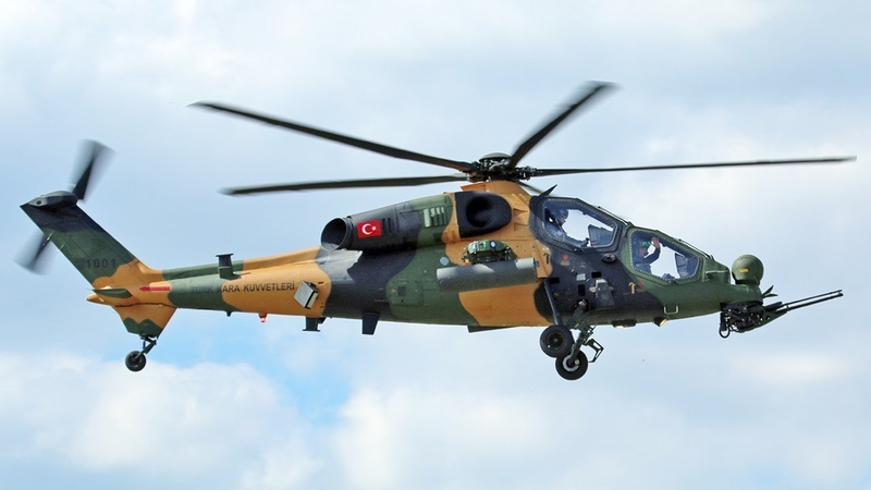 Turkish T129 ATAK Helicopters Firing Tracer Rounds