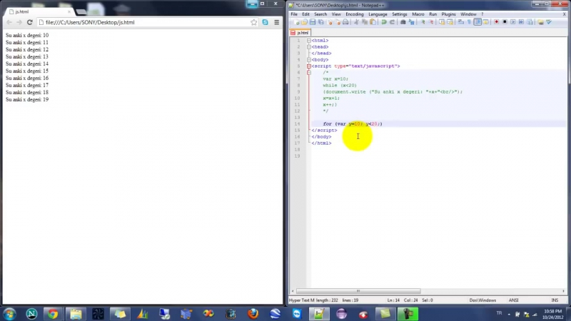 Yakın Kampüs - Javascript Ders 13 - Javascriptte For Komutu