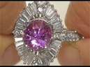 HGT Certified UNHEATED Natural VVS Pink Sapphire Diamond 14k Gold Engagement Ring - C217