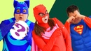 Big Bizi turned into PJ MASK. Catboy and Owlette rescues SuperMan