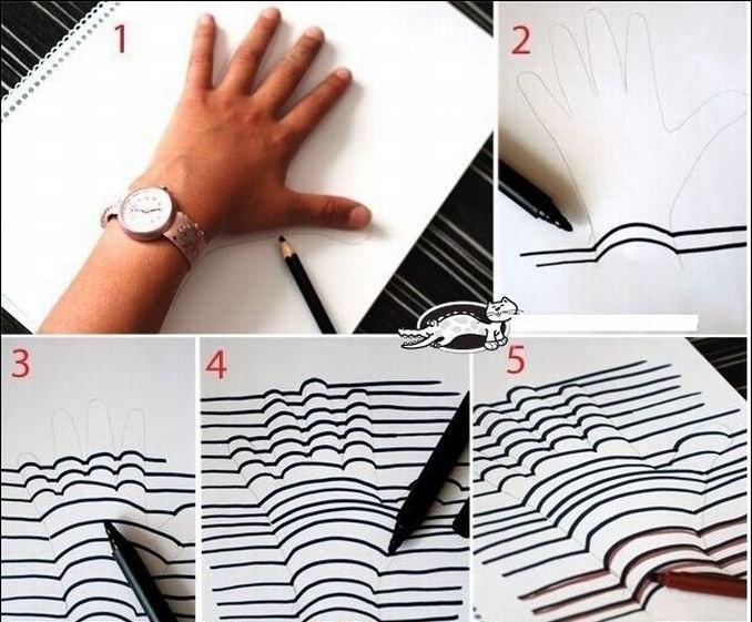 Как нарисовать 3 д рисунок свою руку