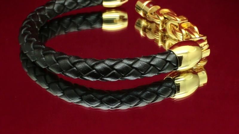 Мужской кожаный браслет Steel Rage Gold