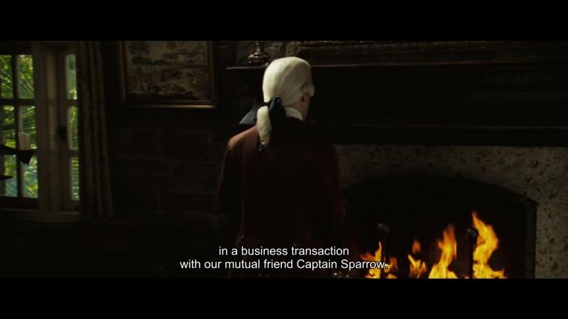 In a business transaction with our mutual friend Captain Sparrow./ в деловой сделке с нашим общим другом капитаном Воробьем.