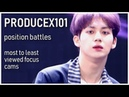 PRODUCE X 101 - POSITION BATTLES Focus Cams - Ranked by Views (YouTube Naver Views)