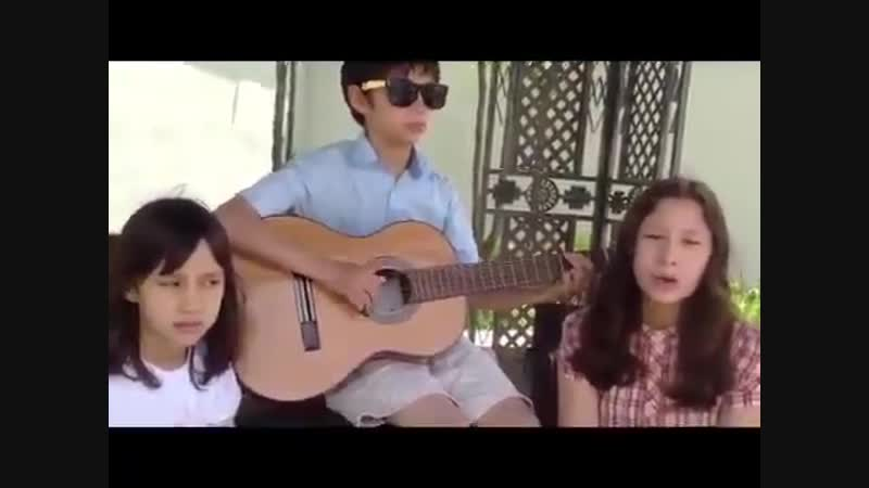 This video was posted by kais father five years ago! siblings and family singing price tag together! - -