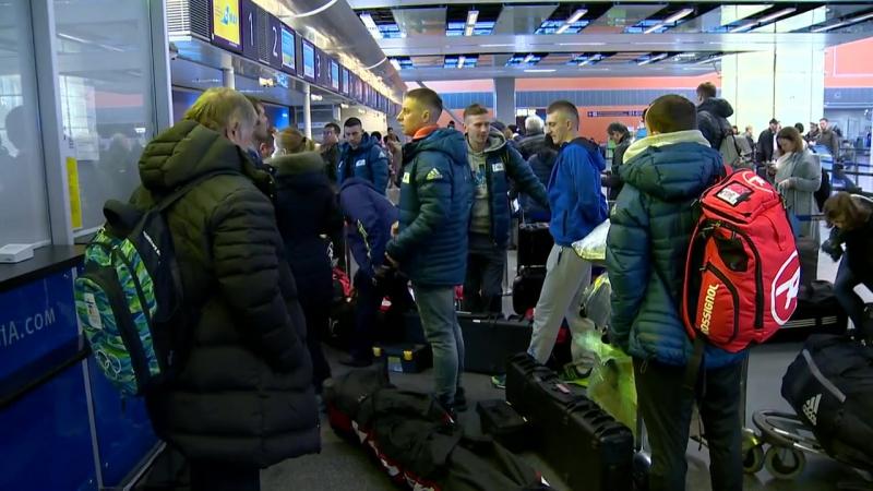 Вылет сборной Украины по биатлону на первый этап Кубка мира (аэропорт Борисполь,