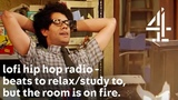 lofi hip hop radio - beats to relaxstudy to, but with Moss from The IT Crowd &amp the room is on fire.