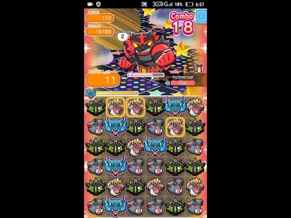 Pokemon Shuffle - Incineroar Escalation Battle 110 lvl