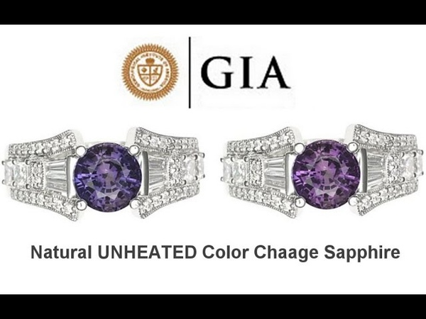 GIA Certified UNHEATED Natural VVS2 Color Change Sapphire Diamond 18k White Gold Ring- C566