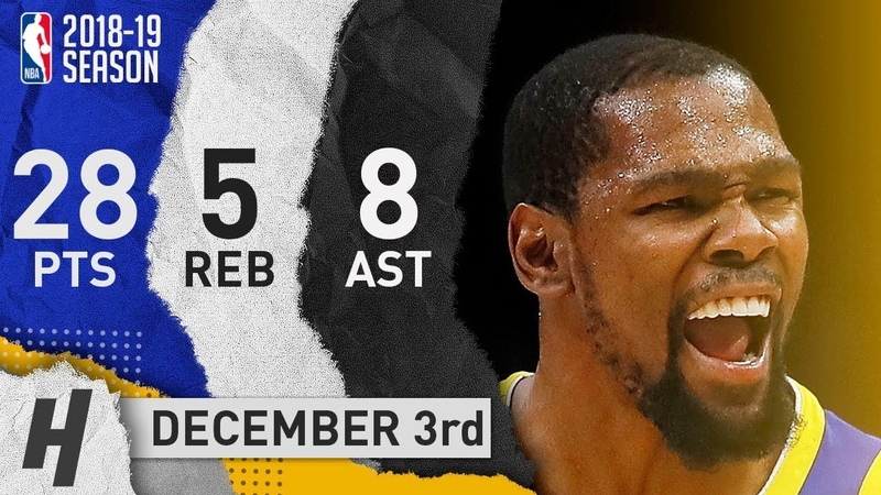 Kevin Durant Full Highlights Warriors vs Hawks 2018.12.03 - 28 Pts, 8 Ast, 5 Reb, TOO EASY!