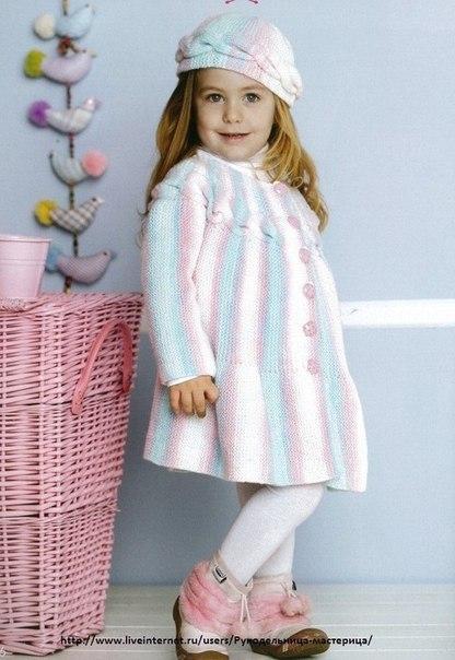 Вязаные пальто для девочек