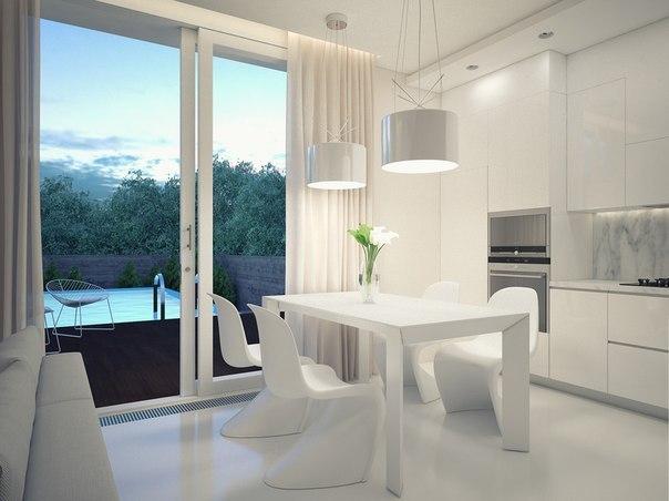 Белая кухня с выходом на террасу.